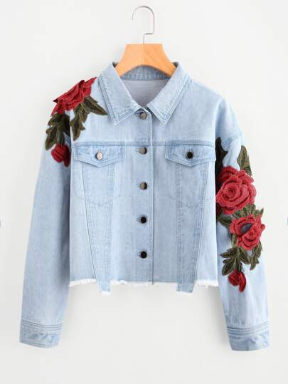 3d Rose Patch Raw Hem Denim Jacket Emmacloth Women Fast