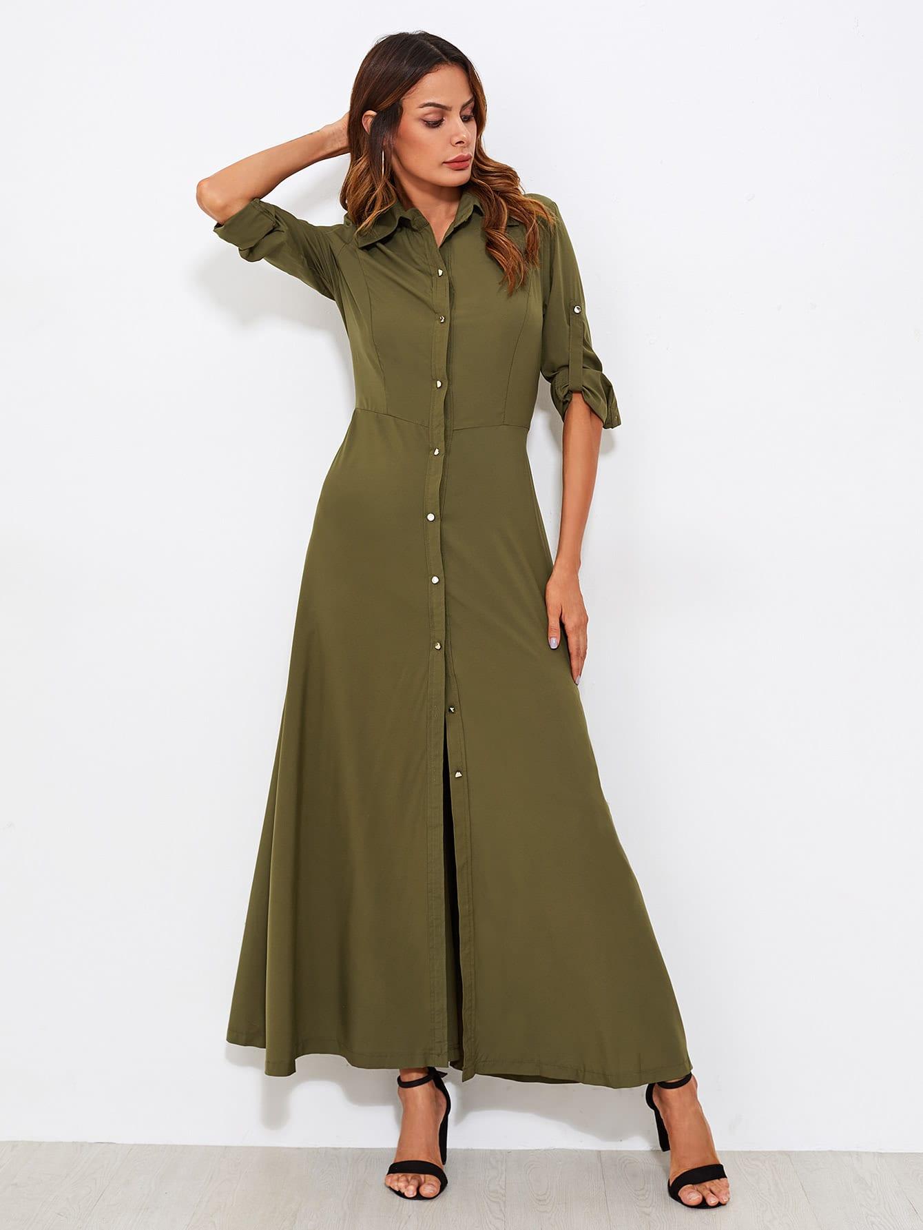 9150c77e80 Roll Tab Sleeve Full Length Shirt Dress EmmaCloth-Women Fast Fashion ...
