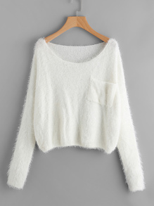Single Pocket Front Fuzzy Jumper