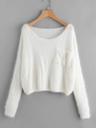 Single Pocket Front Fuzzy Sweater