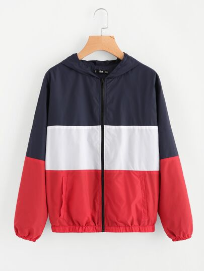 8521c30446 Cut And Sew Hoodie Windbreaker Jacket | SHEIN IN