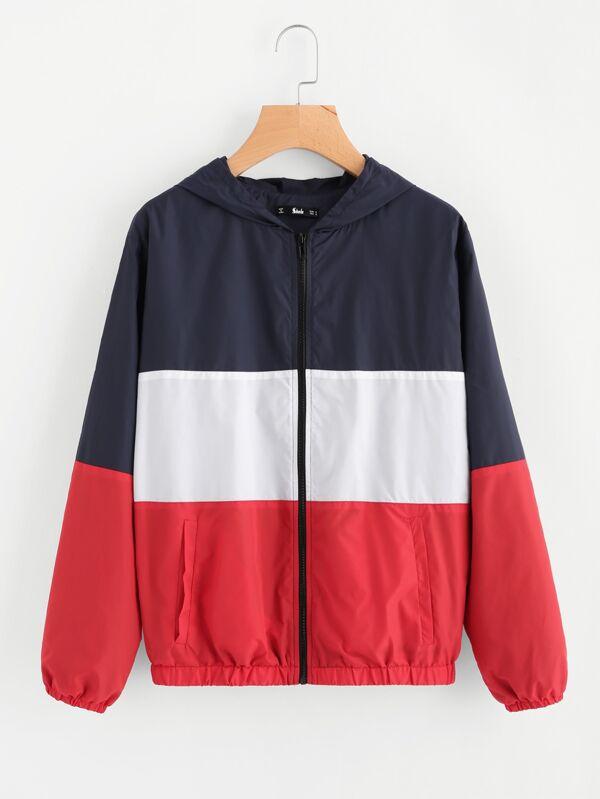 16aa2e4f8 Cut And Sew Hoodie Windbreaker Jacket | SHEIN UK
