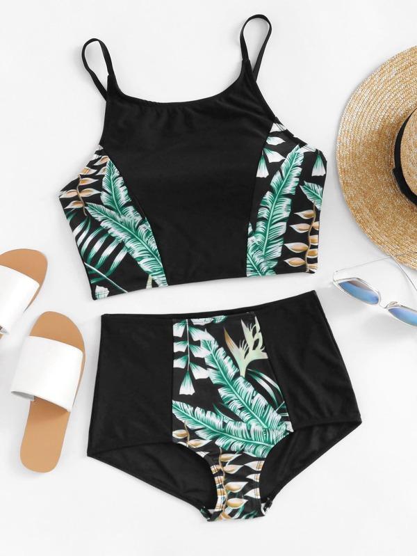 1552c1b5a7250 Tropical Print Top With High Waist Bikini Set | SHEIN