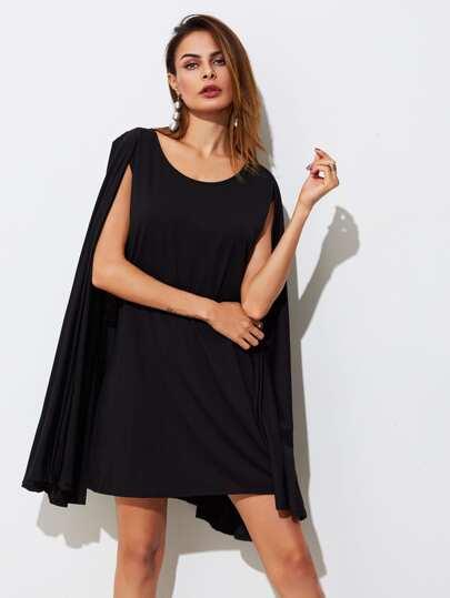 Klänning med cape armar och knytband | SHEIN SE