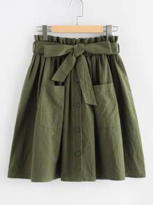 Frill Waist Pocket Front Buttoned Utility Skirt