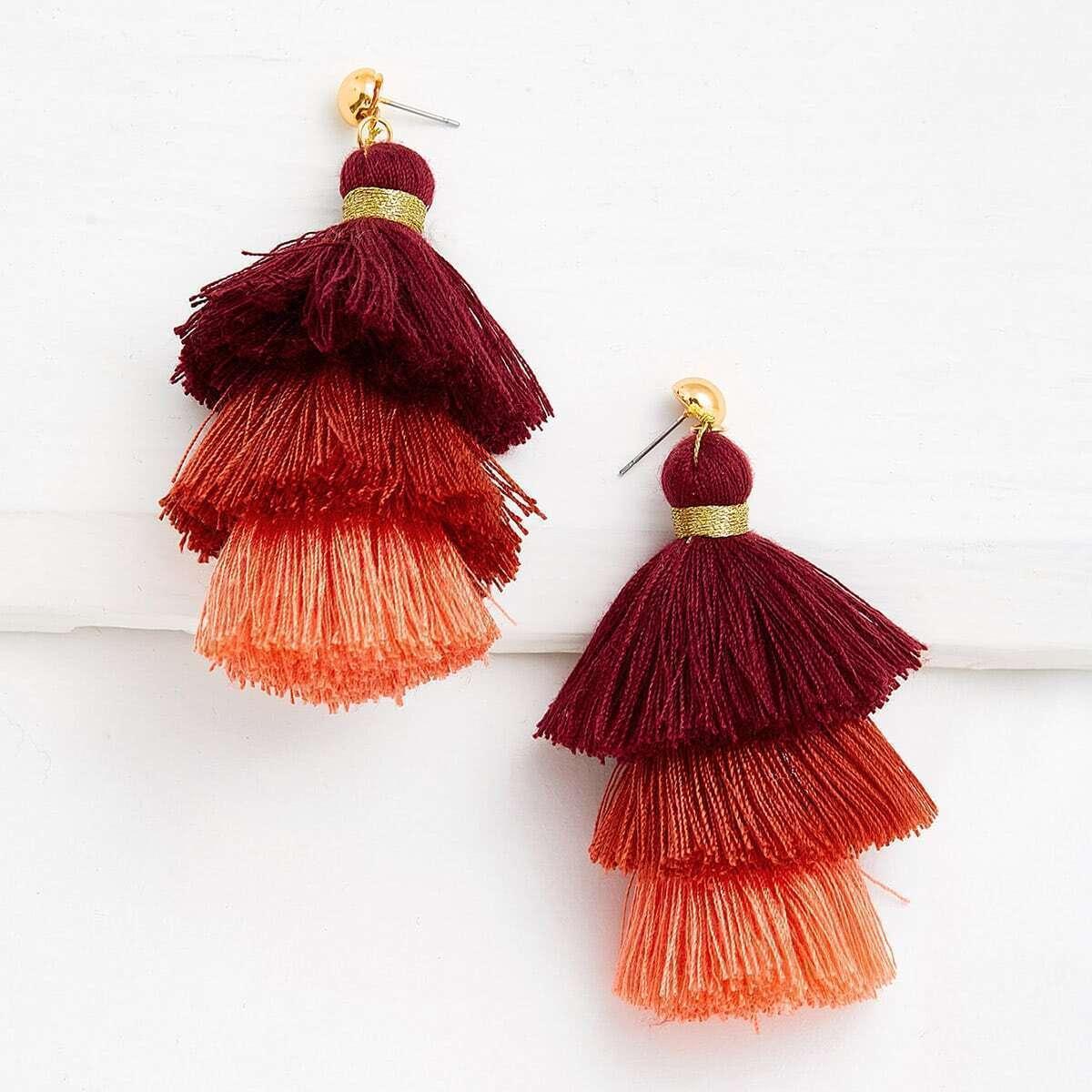 - Layered Tassel Drop Earrings
