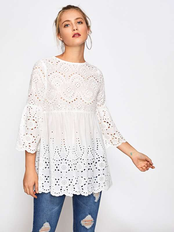 58961cc53b Eyelet Embroidered Scallop Trim Smock Blouse | SHEIN