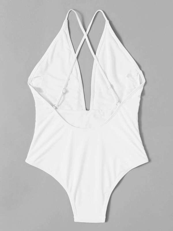 6fa4000e37 Knot Front Plunge Neckline Swimsuit | SHEIN