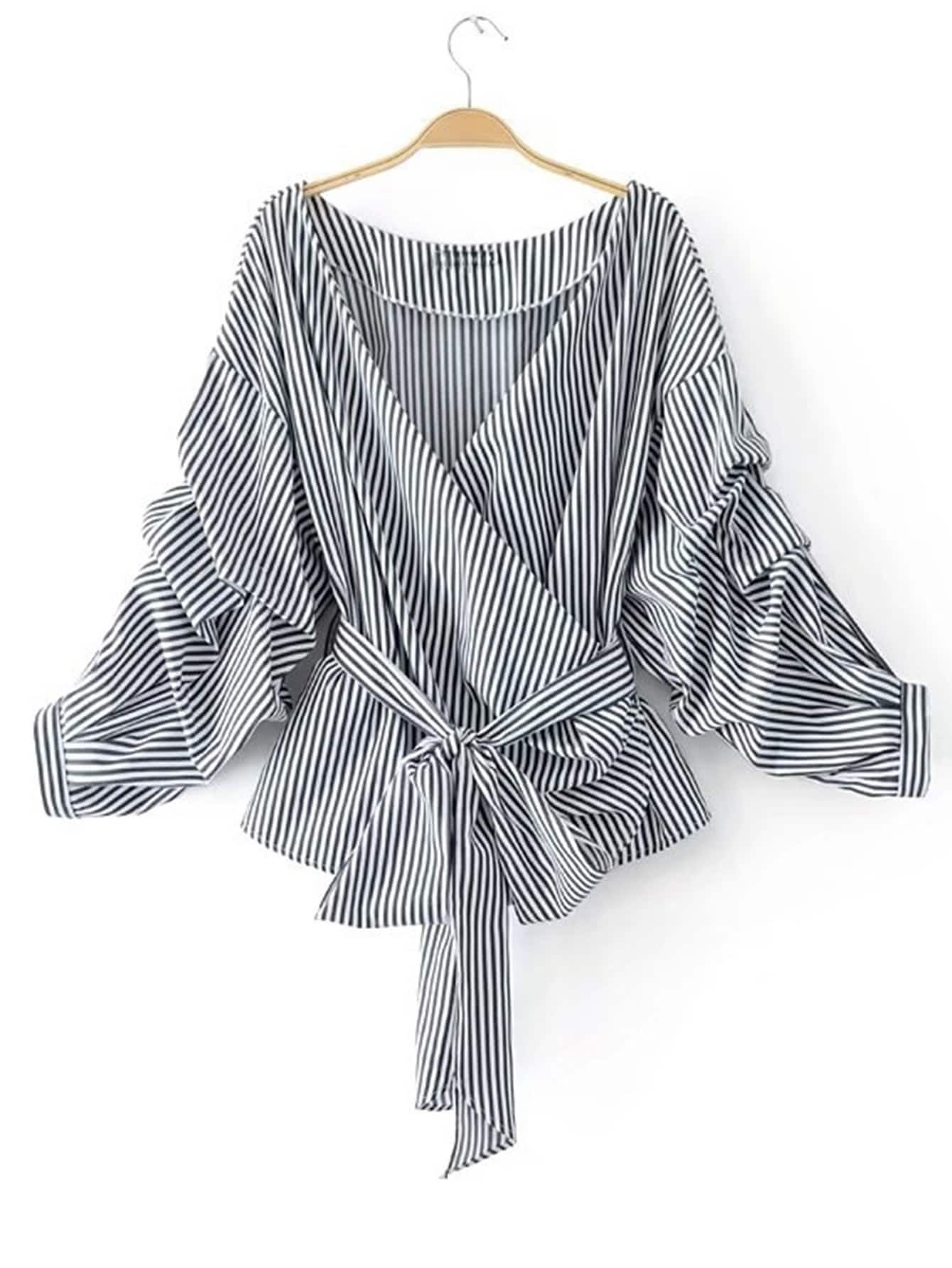 b353767b4bbf32 Striped Ruched Sleeve Self Tie Surplice Blouse EmmaCloth-Women Fast ...