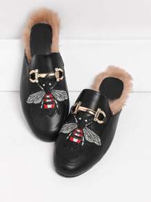 Bee Embroidery Flat Mules With Faux Fur