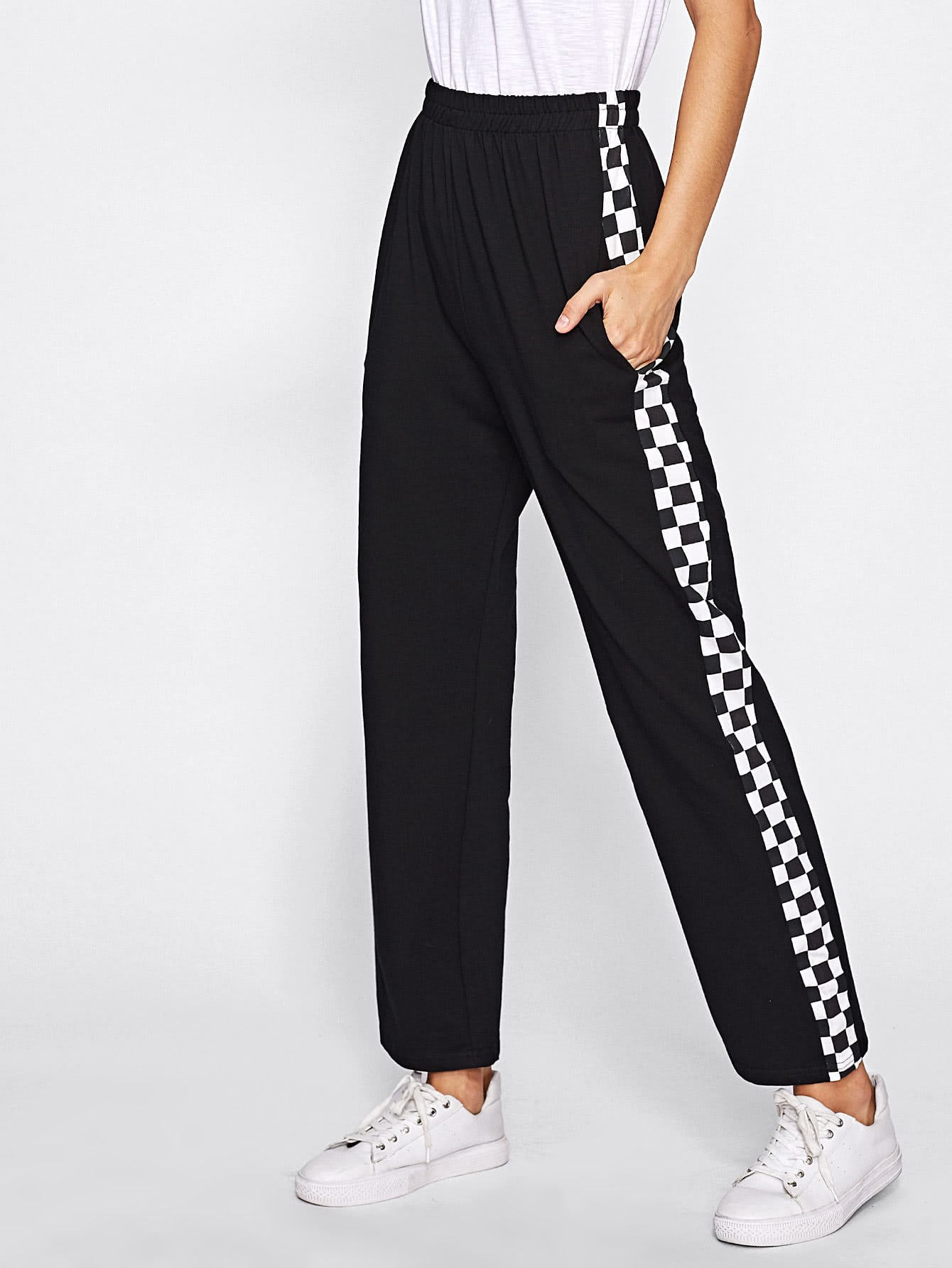Side Checked Pants Emmacloth Women Fast Fashion Online