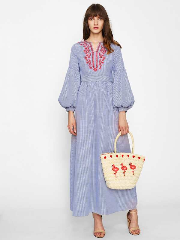 dc76c69a7a Lantern Sleeve Embroidered Striped Dress | SHEIN