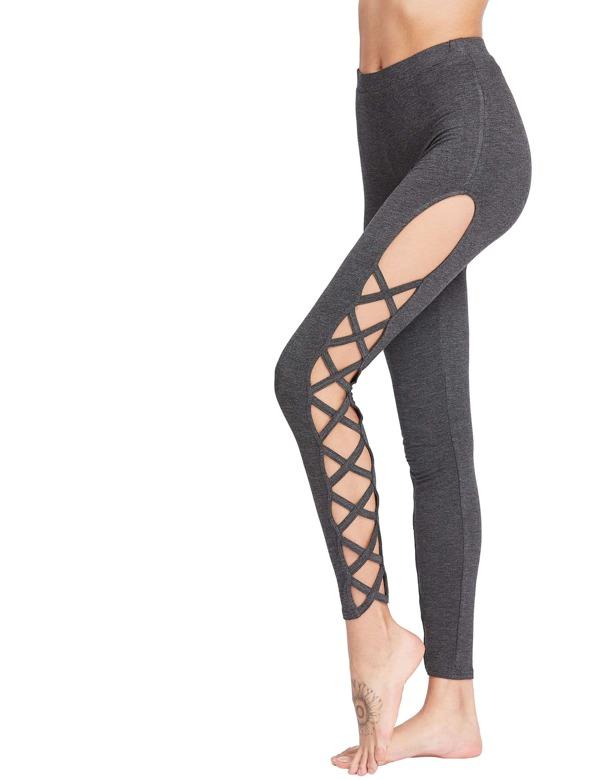 Dark Grey Cutout Lattice Detail High Waist Leggings -SheIn(Sheinside) 449980953ac