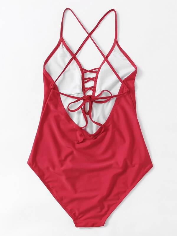 b64d15b37a Cheap Criss-cross Plunge Neckline One Piece Swimsuit for sale Australia |  SHEIN