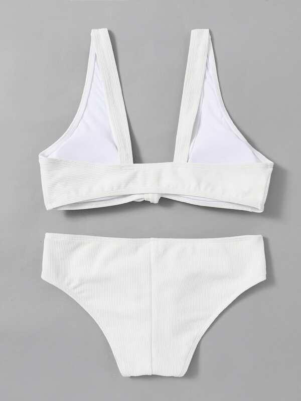 f1c1e9f669 Knot Front Plunge Neck Bikini Set | SHEIN