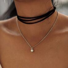 - Layered Choker & Rhinestone Pendant Chain Necklace Set 4pcs
