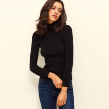 - Black Turtle Neck Long Sleeve Knitted T-shirt