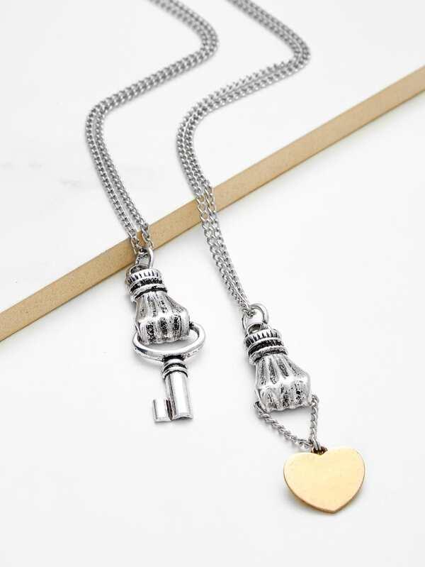 f983e31dab Heart & Key Pendant Chain Necklace Set 2pcs | SHEIN