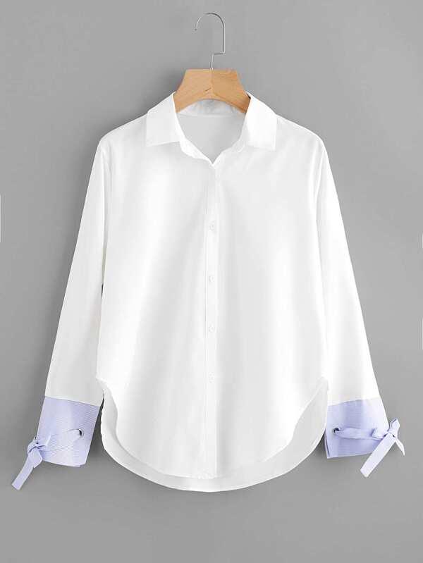 6bc3bcb7d07 Cheap Contrast Striped Cuff Tie Detail Curved Hem Shirt for sale Australia