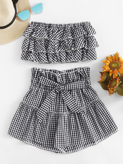 Gingham Print Tiered Layer Top With Tie Front Shorts