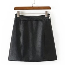 - Seam Detail PU A Line Skirt
