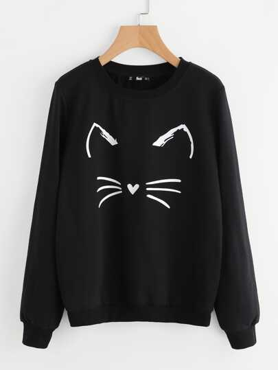 Cartoon Cat Graphic Sweatshirt