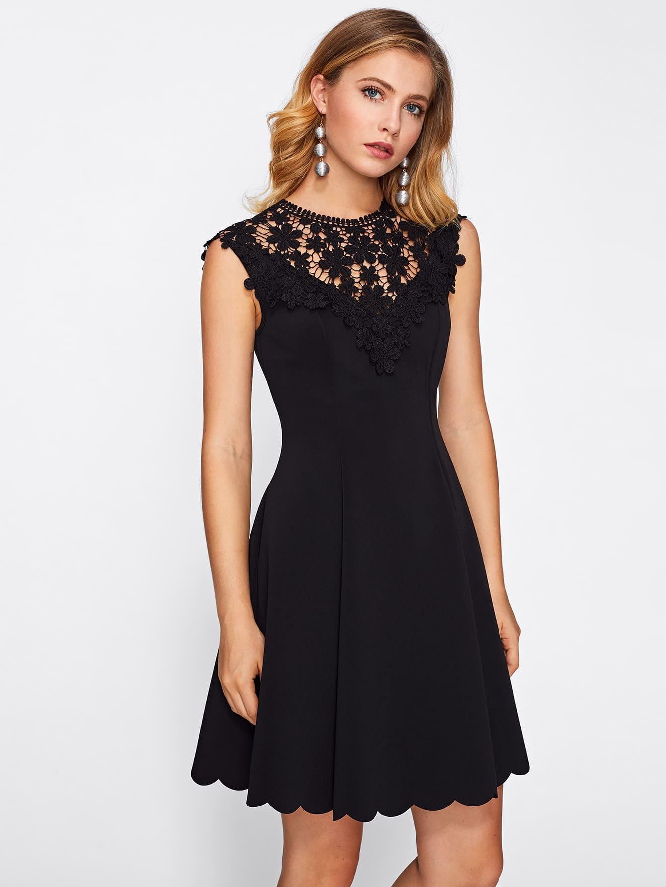 Kleid mit Spitzen und Muschel - German SheIn(Sheinside)