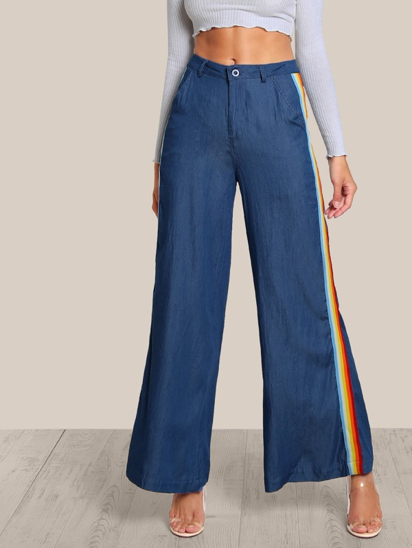 new arrival ac0ad 12bc5 Side Stripe High Rise Palazzo Jeans