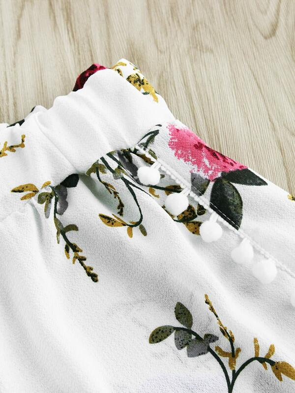 4ef0359e18 Cheap Floral Print Random Pom Pom Trim Shorts for sale Australia | SHEIN