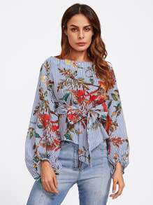 Exaggerated Lantern Sleeve Belted Mixed Print Blouse