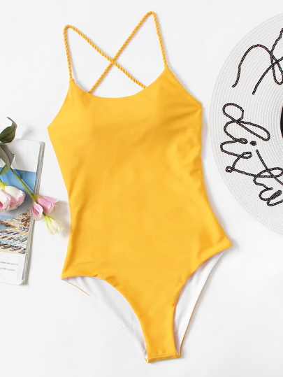Criss Cross Open Back One Piece Swim