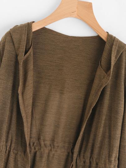 ce12ad2613 Drawstring Waist Hooded Cardigan -ROMWE