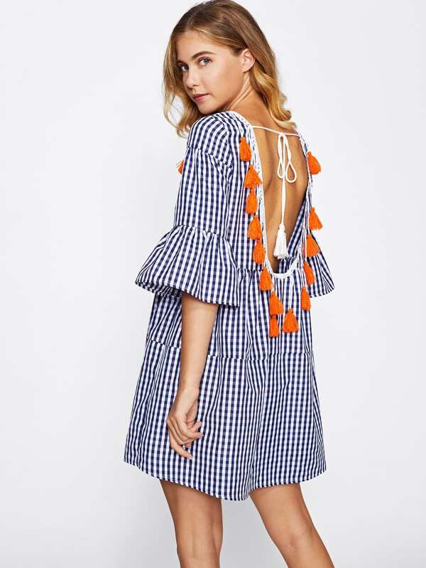 45dad1e846 Tassel Tied Open Back Tiered Gingham Dress | SHEIN