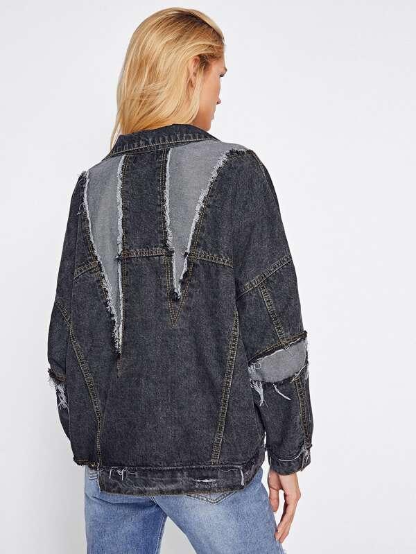 Jeans De La sheinside Avec En French Veste Shein Chute L'épaule gvBx5w