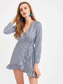 Vertical Striped Frill Trim Wrap Dress