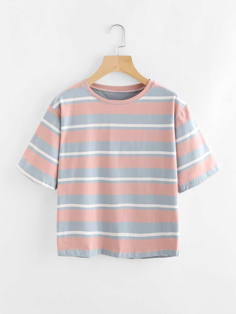 02cf04dce1 Contrast Wide Striped Tee | SHEIN