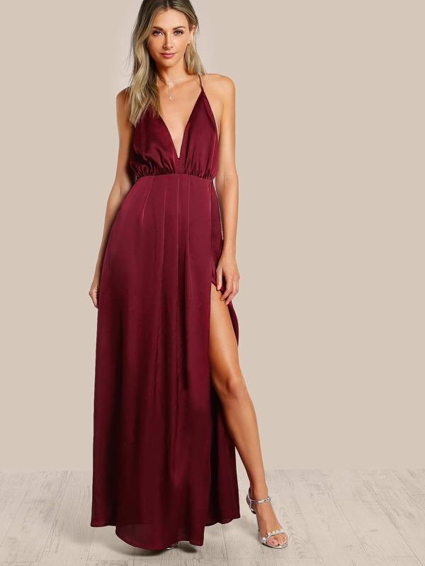 edb4b9307 Crisscross Backless High Slit Cami Satin Dress | SHEIN