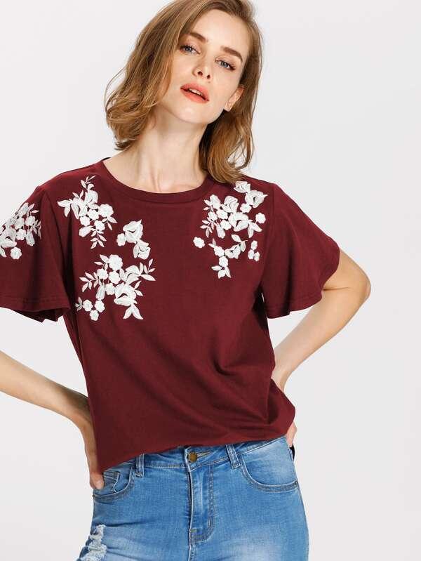 Tee-shirt manche papillon brodé des fleurs -French SheIn(Sheinside) 5145281bfccd