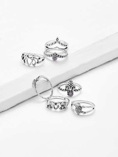 elephant leaf ring set 7pcs shein sheinside Leaf Rings Jewelry alt