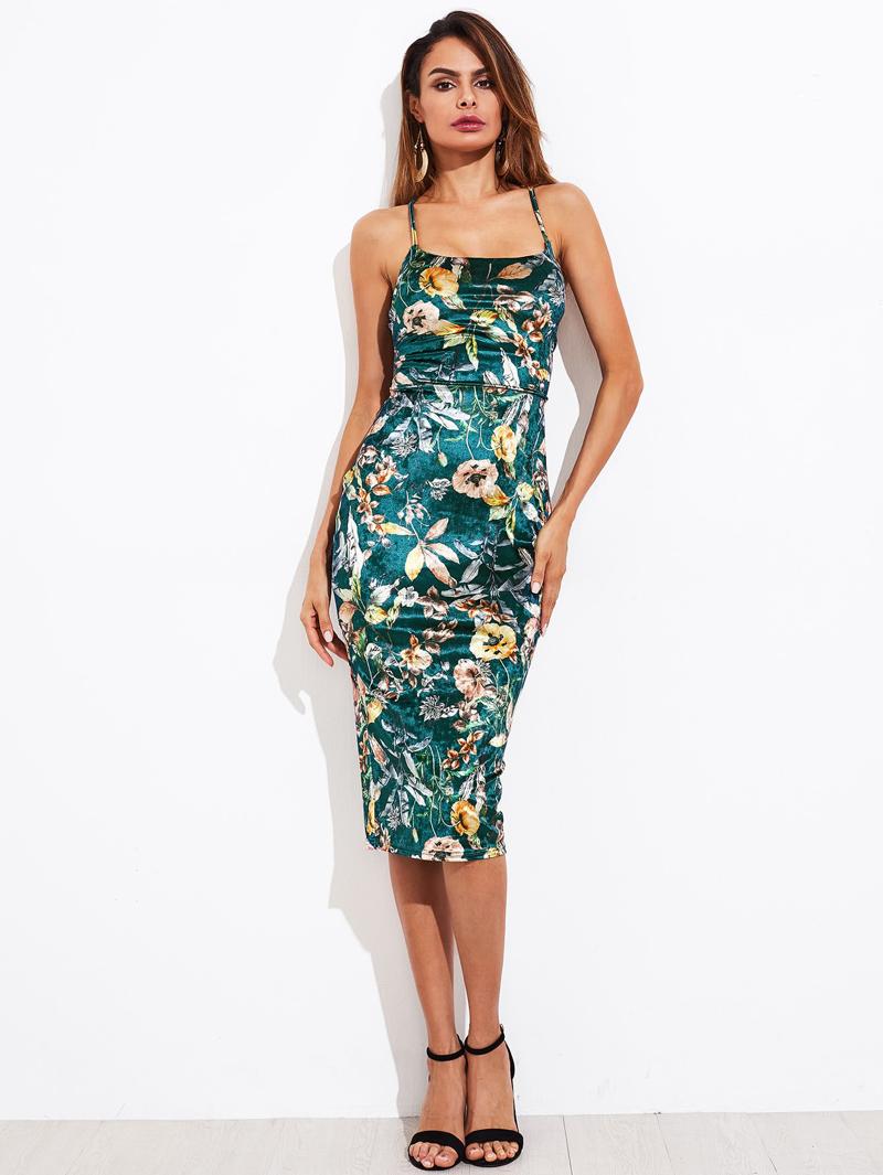Hinten Mit Blumenaufdruck Kleid Und Schnürung OZuPkXi