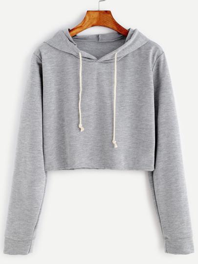 68f2a0bde3e Pale Grey Drawstring Hooded Crop Sweatshirt