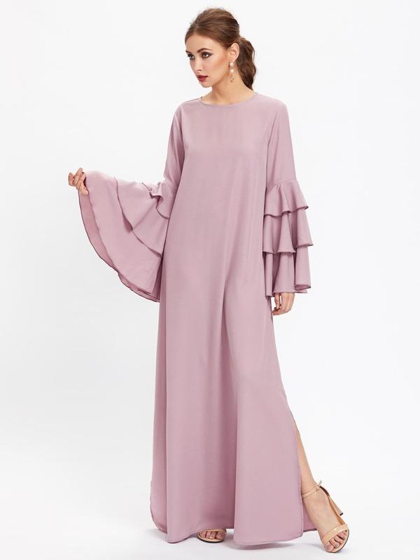 7e16a622a90cf فستان سهرة حجاب بفتحة وأكمام الجرس مغطاه