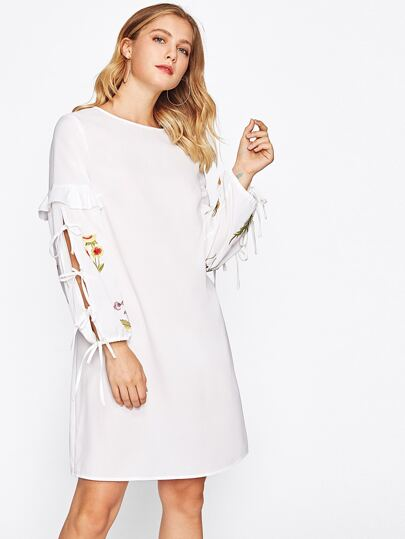 Frill Trim Tie Split Sleeve Embroidered Dress