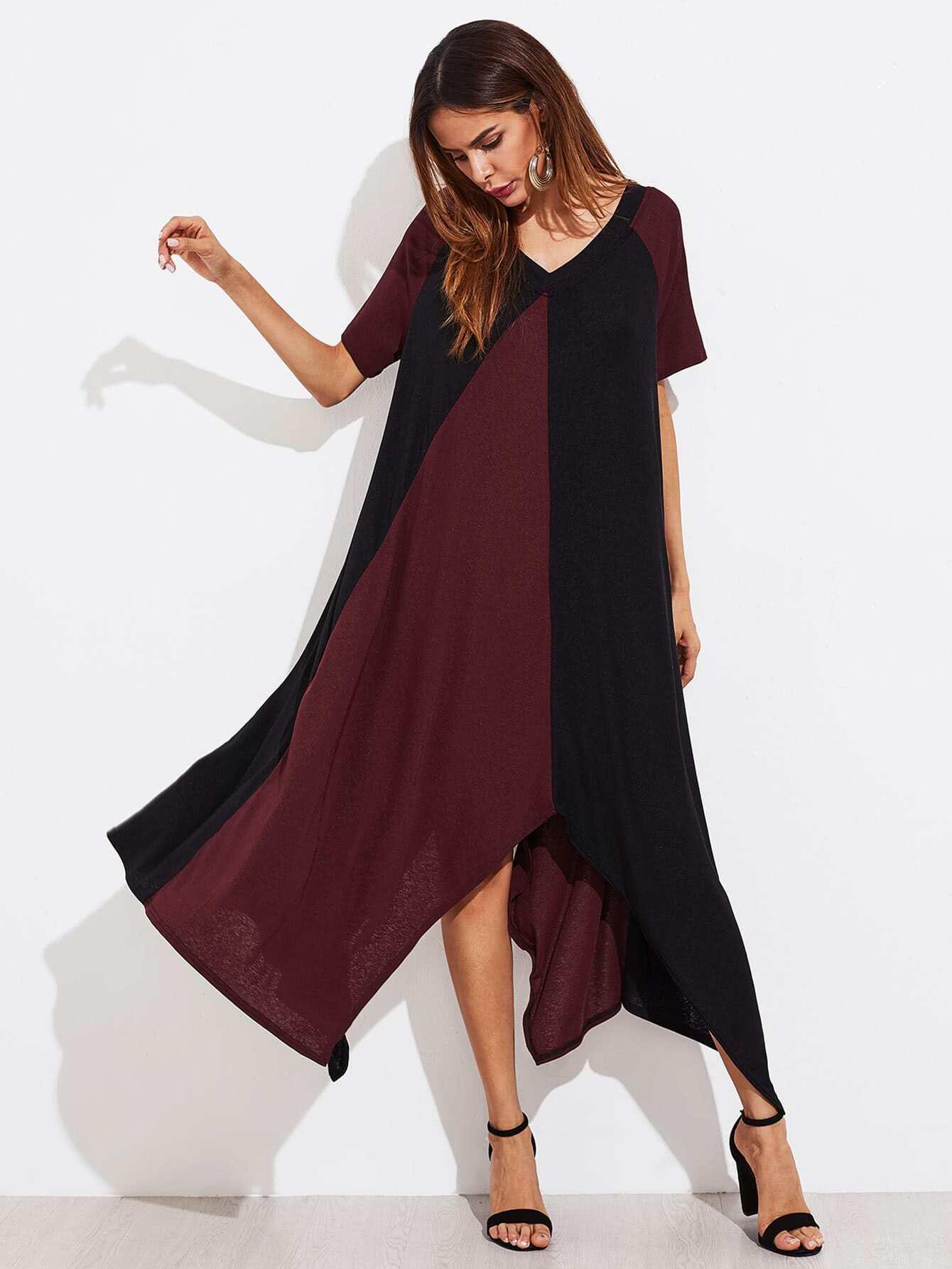 f6596ba46a1b28 Two Tone Double V Hanky Hem Dress EmmaCloth-Women Fast Fashion Online
