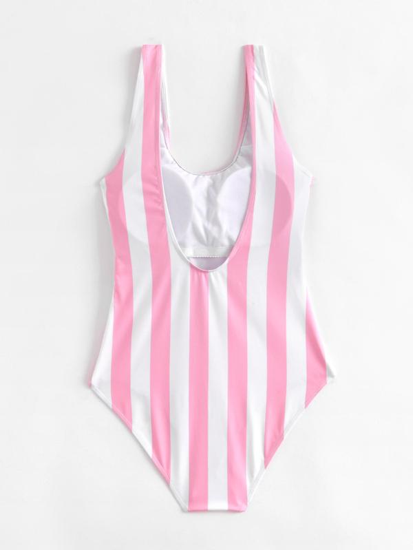 00cbd30091 Low Back Striped & Letter Pattern One Piece Swimsuit | SHEIN