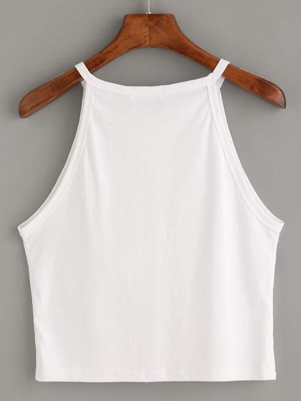 59c4a954bd White High Neck Crop Cami Top | SHEIN