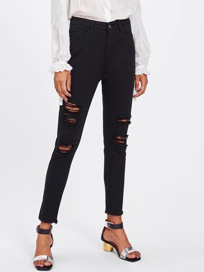 zerrissene schwarze jeans german shein sheinside. Black Bedroom Furniture Sets. Home Design Ideas