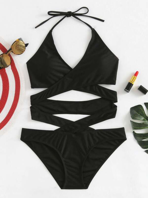 adb48dc47c Criss Cross Wrap Swimsuit | SHEIN