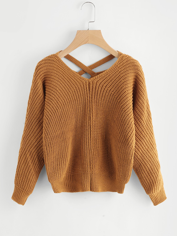 criss cross v back sweater shein sheinside