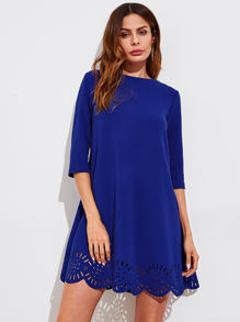 Laser Cut Scallop Hem Swing Dress
